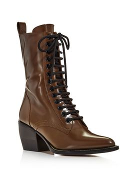 Women's Rylee Pointed Toe Leather Mid Heel Boots by Chloé