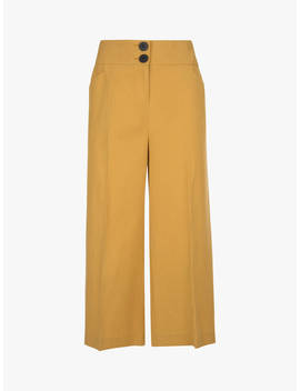 Mint Velvet Cropped Wide Leg Trousers, Ochre by Mint Velvet