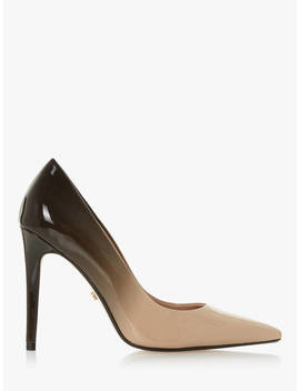 Dune Aivy Stiletto Heel Court Shoes, Black/Beige Patent by Dune