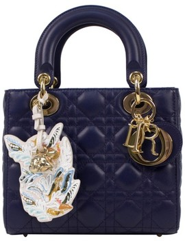 Cannage Tote With Attachable Strap Blue Leather Shoulder Bag by Dior