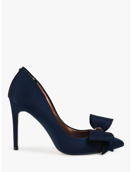 Ted Baker Asellys Stiletto Heel Bow Court Shoes, Navy by Ted Baker