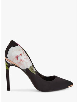 Ted Baker Melnip Floral Stiletto Heel Court Shoes, Black/Multi by Ted Baker