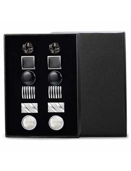 Jstyle 6 Pairs Classic Cufflinks Set For Men Wedding Bussiness Cufflink Shirts Mens Jewelry With Gift Box by Jstyle