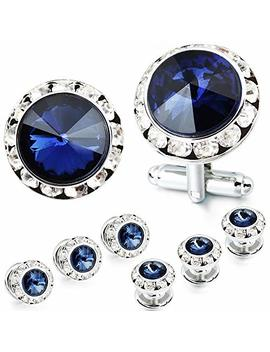 Amiter Mulit Colors Crystal Cuff Links And Studs Set For Mens Tuxedo Shrit Wedding Accessories by Amiter
