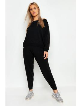 Plus Heavy Knitted Slash Neck Lounge Set by Boohoo