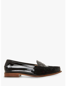 Dune Glossy Loafers, Black Patent Leather by Dune