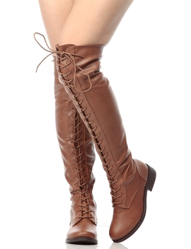 Chestnut Faux Leather Thigh High Lace Up Combat Boots by Ci Cihot
