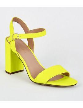 Yellow Neon 2 Part Block Heels by New Look
