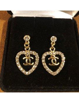 "<Span Data Inner Title="""">Cc Stud Diamond Gold Heart Earrings</Span> by Etsy"