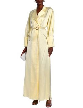 Belted Silk Satin Maxi Shirt Dress by Michael Lo Sordo