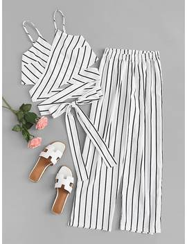 Striped Knot Hem Cami Top With Pants by Romwe