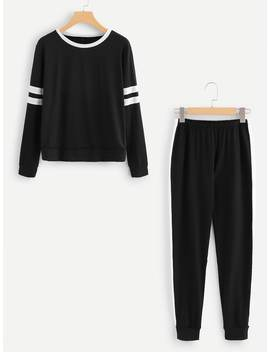 Varsity Striped Sleeve Top With Pants by Romwe
