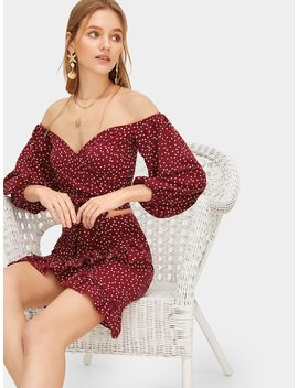 Off Shoulder Bishop Sleeve Top And Ruffle Skirt Set by Romwe