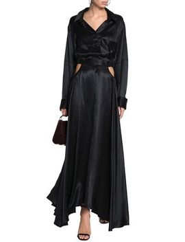 Cutout Silk Satin Maxi Shirt Dress by Michael Lo Sordo