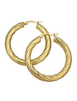 "1 1/2"" Stainless Steel Gold Color Plated Elegant Twists Hoop Earrings 161104155250 by Gem Storm"