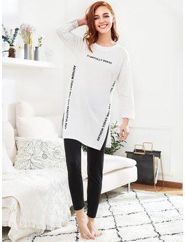 Slit Side Long Pajama Set by Romwe