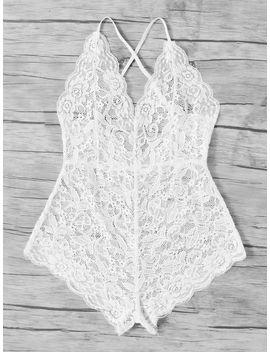 Scalloped Trim Criss Cross Lace Bodysuit by Romwe