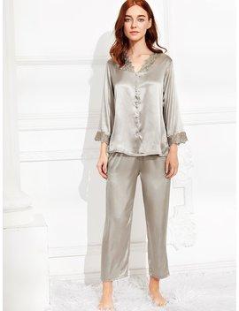 Embroidered Lace Trim Satin Pajama Set by Romwe