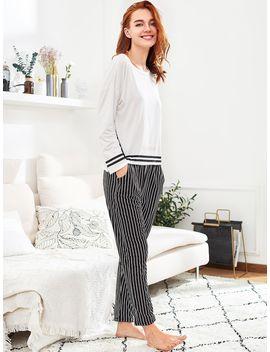 Slit Detail Striped Long Pajama Set by Romwe