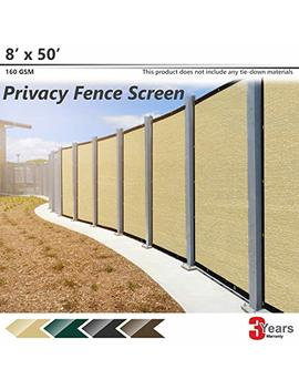 Bouya Beige Privacy Fence Screen 8' X 50' Heavy Duty For Chain Link Fence Privacy Screen Commercial Outdoor Shade Windscreen Mesh Fabric With Brass Gromment 160 Gsm 88 Percents Blockage Uv  3 Years Warranty by Bouya