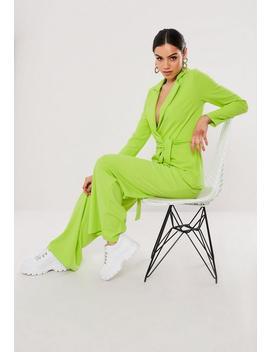 Lime Stretch Crepe Tie Waist Blazer by Missguided