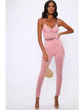 Rose Pink Lace Bustier Stripe Detail Slim Leg Jumpsuit by I Saw It First