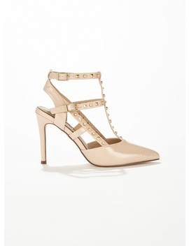 Cacey Nude Stud And Pearl Court Shoes by Miss Selfridge