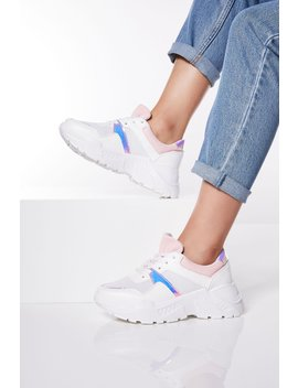 White And Pink Lace Up Trainers by Quiz