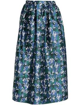 Gathered Silk Jacquard Midi Skirt by Oscar De La Renta