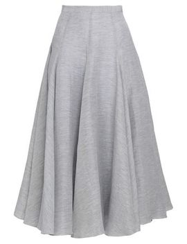 Striped Linen And Silk Blend Midi Skirt by Co