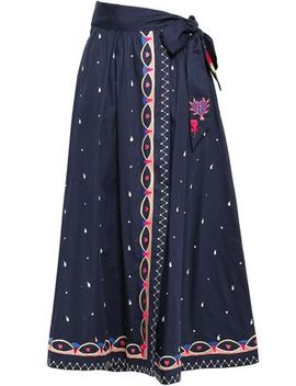 Divine Embroidered Cotton Poplin Midi Wrap Skirt by Temperley London