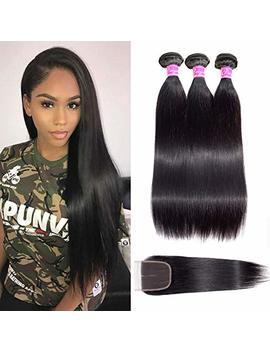 Brazilian Straight Hair Bundles With Closure 100 Percents Unprocessed Virgin Human Hair Weave 3... by Peiyulex