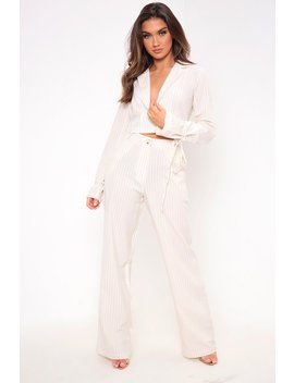 Cream Pinstripe Wide Leg Trousers by I Saw It First