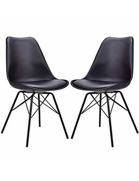 Giantex Set Of 2 Dining Chair Upholstered Pu Leather Armless Mid Century Modern Style With Padded Seat Metal Legs Accent Armless Chairs Living Room Chairs Set (Black) by Giantex