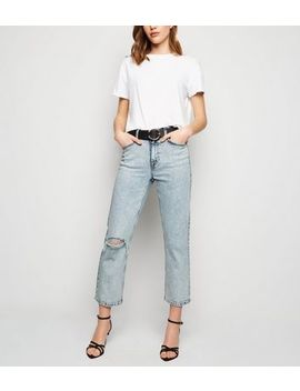 Blue Acid Wash Straight Leg Harlow Jeans by New Look