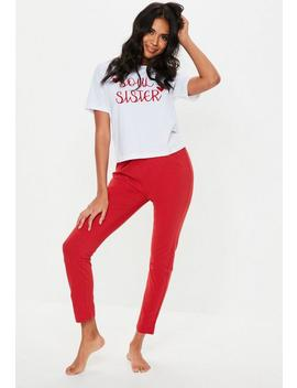 Red Soul Sister Pajamas Set by Missguided