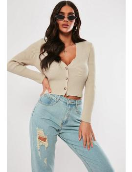 Sand Skinny Rib Cropped Cardigan by Missguided