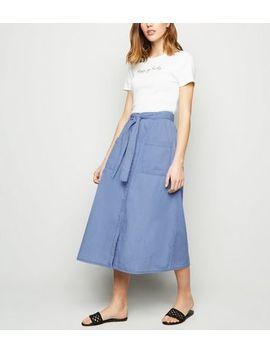 Blue Tie Waist Denim Midi Skirt by New Look