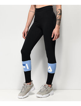 Fila Dina Black &Amp; Vista Blue Leggings by Fila