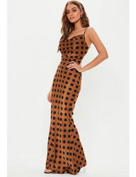 Rust Polka Dot Cowl Maxi Dress by Missguided