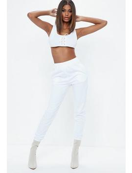 white-slim-clean-joggers by missguided