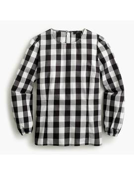 Puff Sleeve Top In Oversized Gingham by J.Crew