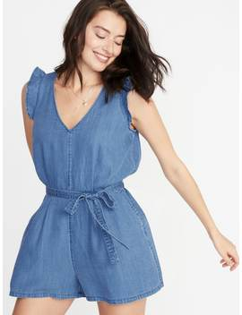 Chambray Tie Belt Romper For Women by Old Navy