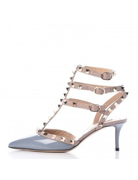 Valentino Patent Rockstud Ankle Strap Pumps 35.5 Grey by Valentino