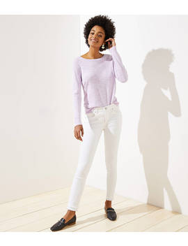 Modern Double Frayed Slim Pocket Skinny Jeans In White by Loft