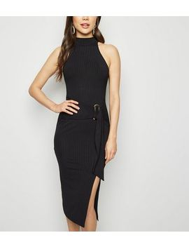 Black High Neck Belted Bodycon Dress by New Look