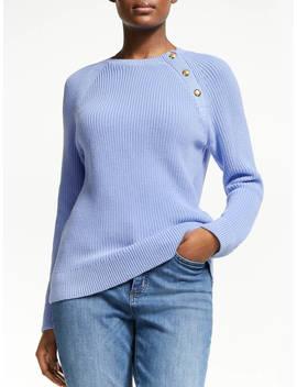 Ralph Lauren Aryuda Button Trim Cotton Sweater, Hydrangea 400 by Ralph Lauren