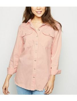 Pale Pink Fray Hem Oversized Denim Shirt by New Look