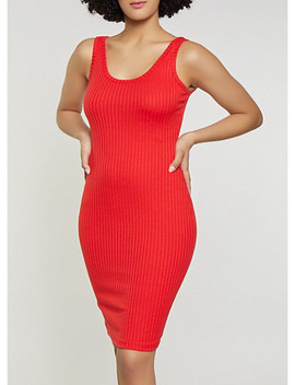 Solid Ribbed Knit Tank Dress by Rainbow