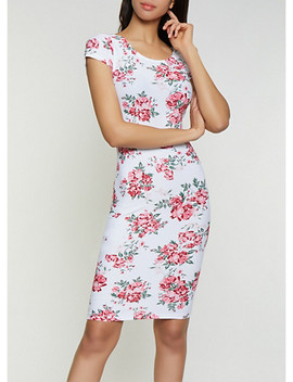 Scoop Back Floral Bodycon Dress by Rainbow